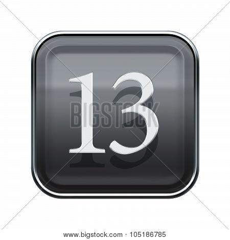 Thirteen Icon Grey Glossy, Isolated On White Background