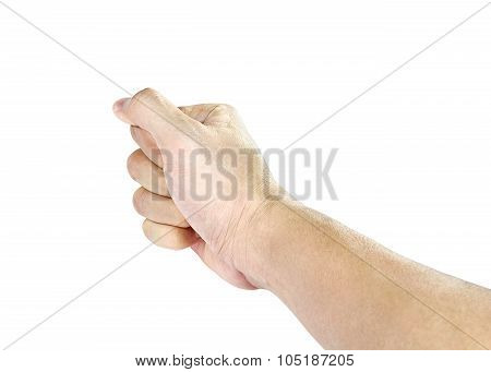 Hand Fist Isolated In White Background