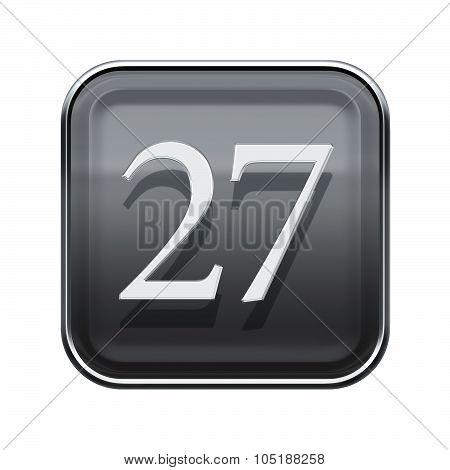 Twenty Seven Icon Grey Glossy, Isolated On White Background