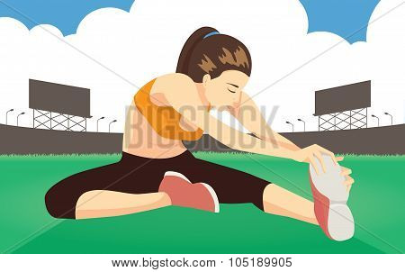 Woman cool down stretches on field