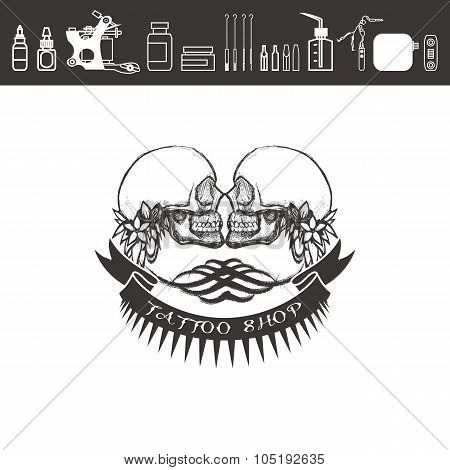 Tattoo shop logo, emblem. Black and white.