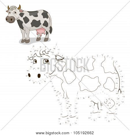 Connect the dots game cow vector illustration