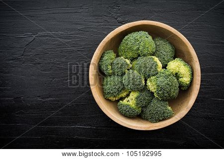 Overhead View With Broccoli On Black Slab Background