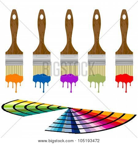 Set Of Color Samples And Paintbrushes Over White Background