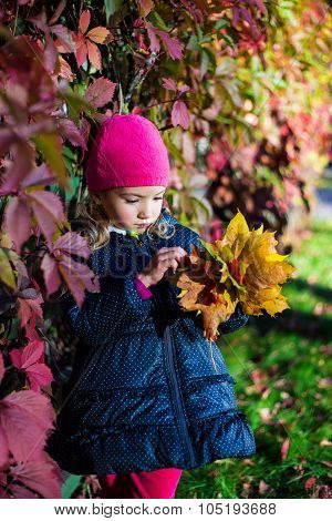 Autumn Concept - Daydreaming Cute Little Girl With Yellow Leaves In Park