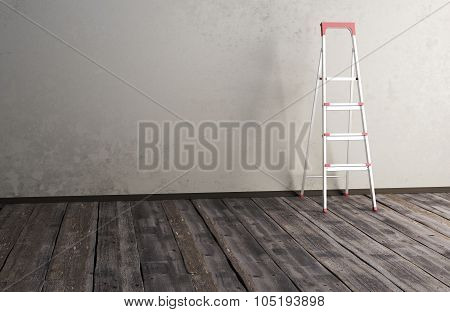 Ladder On The Wooden Floor Amid The Old Wall
