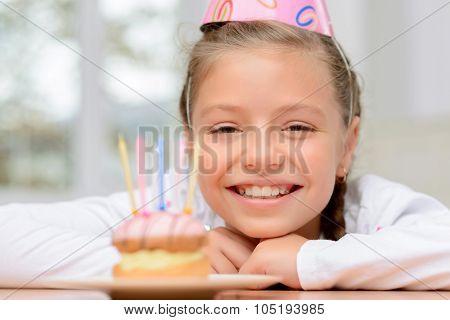 Nice girl celebrating birthday.