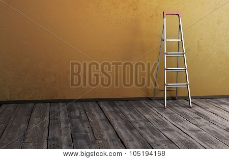 Stepladder Near The Wall On Old Wooden The Floor