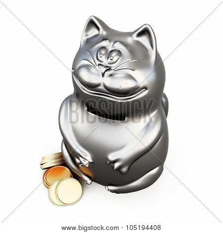 Cat Moneybox Isolated On A White. 3D