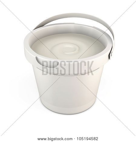 Plastic Bucket Of Putty With The Lid Open. 3D.