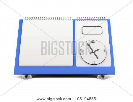 Blank Desk Calendar With A Clock On A Blue Substrate. 3D.