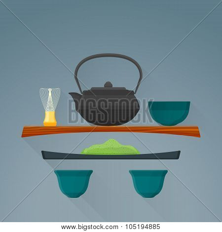 Vector Flat Matcha Tea Ceremony Illustration Icon.