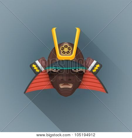 Vector Flat Japan Warrior Face Illustration Icon.