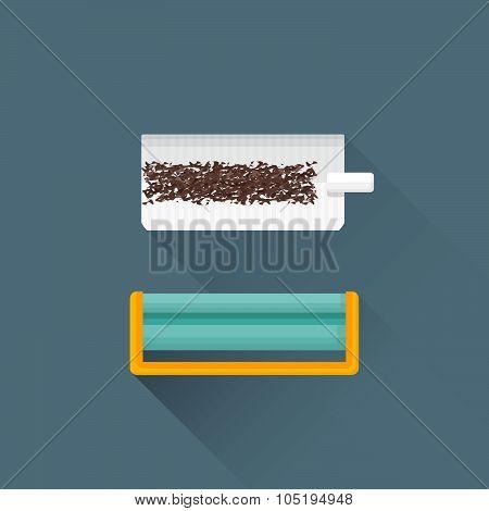 Vector Flat Rolling Tobacco Concept Cigarette Machine Illustration Icon.