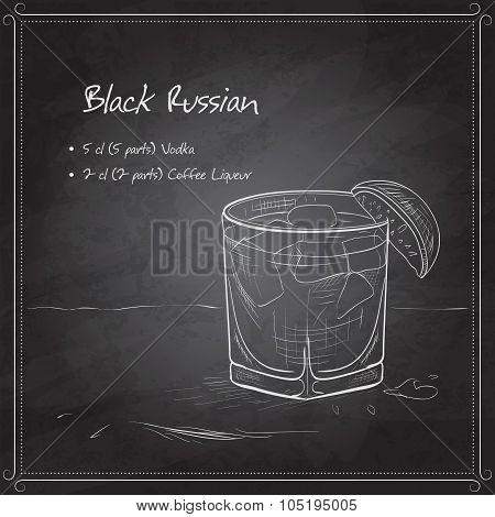Cocktail Black russian on black board