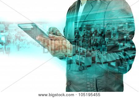 Double Exposure Of Businessman And Retail Superstore With Tablet Pc