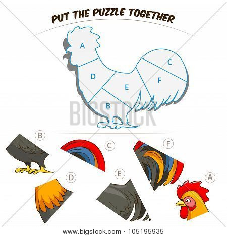 Puzzle game for children rooster