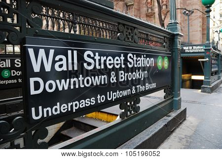 Wall Street, New York City - February 3,  New York City Wall Street subway Station, February 3, 2010 in New York City, New York.