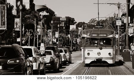 San Francisco, CA - MAY 11: Downtown Street view with traffic on May 11, 2014 in San Francisco. It is the most densely settled large city in California and the second-most in US.