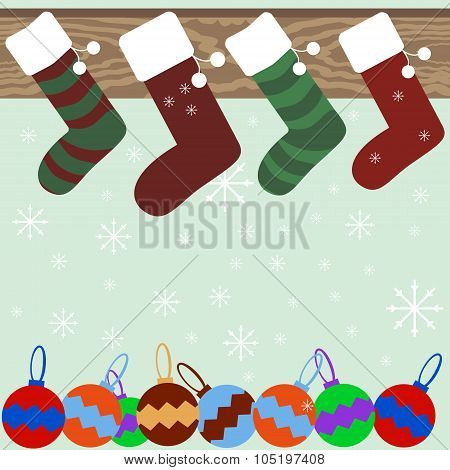 Christmas Stockings On Mantel With Snowflakes And Christmas Balls