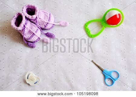 Collection of baby things, top view