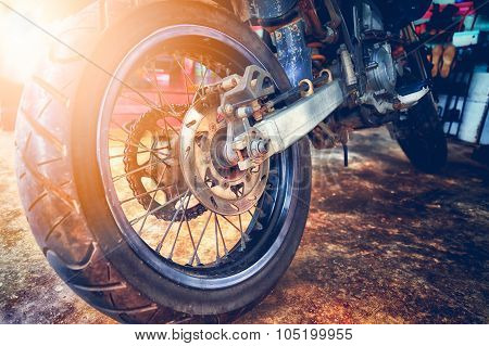 Close Up Of Motorcycle Wheel, Focus Tyre