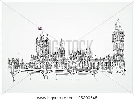 Big Ben, houses of Parliament and Westminster Bridge