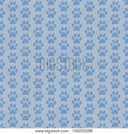 Blue And Gray Dog Paw Prints Tile Pattern Repeat Background