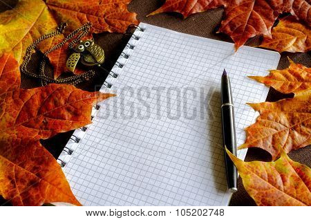 Vintage Still Life - Old Books With Clocks Near Dry Maple Leaves
