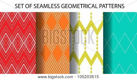 Set Of 4 Geometrical Seamless Patterns
