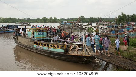 Motorboat Carrying Many People On Mekong River