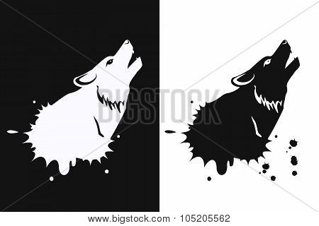 Icon Wolf Howling At The Moon On White And Black Background.