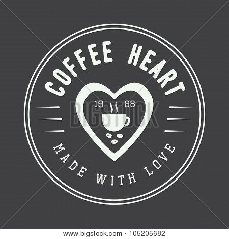 Vintage Coffee Logo, Label Or Emblem With Inspirational Quote.