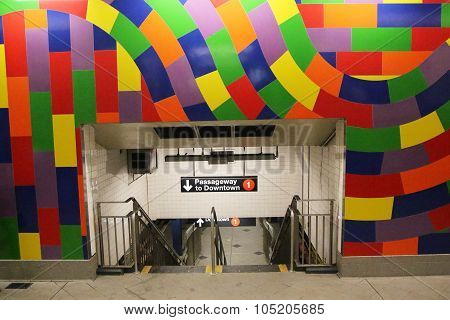Colorful entrance at 59 St - Columbus Circle Subway Station in New York