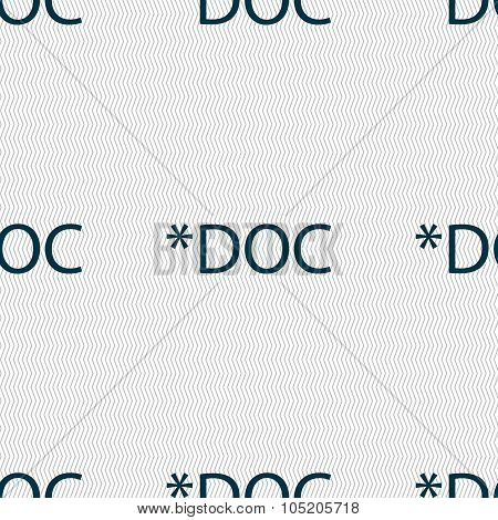 File Document Icon. Download Doc Button. Doc File Extension Symbol. Seamless Abstract Background