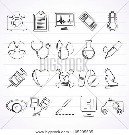 medical tools and health care equipment icons