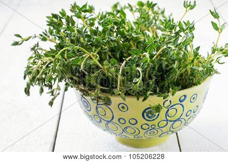 Sprigs Of Fresh Thyme In A Green Bowl