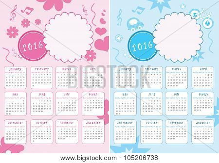 Kids Calendar of 2016 - with Photo Frame - for Girls and Boys - Vector
