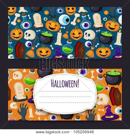 Funny background with Halloween icons
