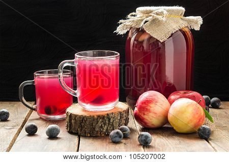 Delicious Canned Fruit Compote Of Apples And Blackthorn