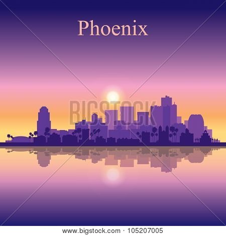 Phoenix City Skyline Silhouette Background