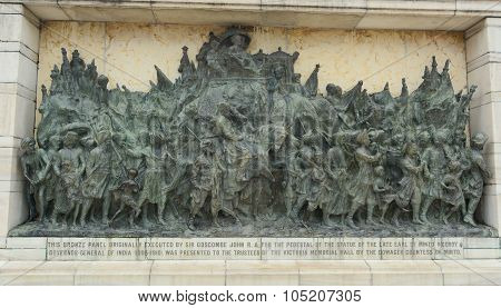 Bronze Memorial Panel At The Victoria Memorial