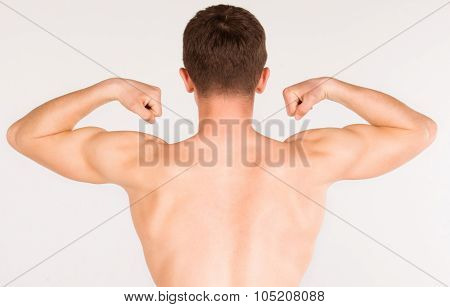 Bodybuilder Strong Athletic Muscle Man, Sport Guy Showing His Male Muscles, Standing Back Isolated O