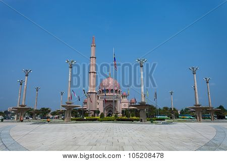 Putra Mosque, Putrajaya, Malaysia against clear afternoon sky