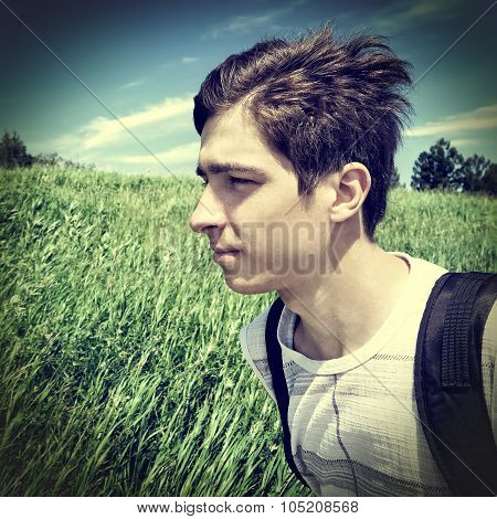 Teenager With Knapsack Outdoor