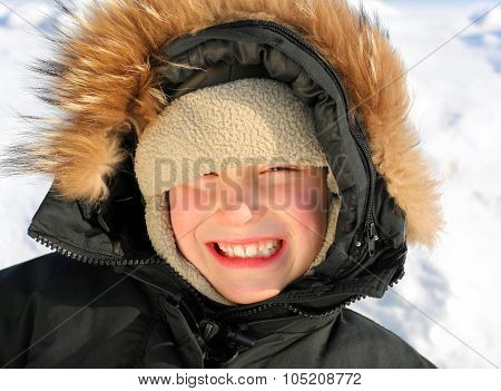 Kid Portrait In Winter