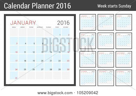 Calendar Planner For 2016 Year. Vector Stationery Design Print Template. Square Pages With Place For
