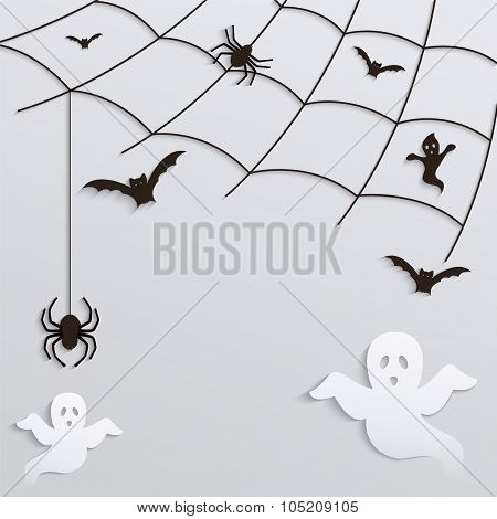 Halloween Background. Spider Web With Flying Ghosts And Bats.