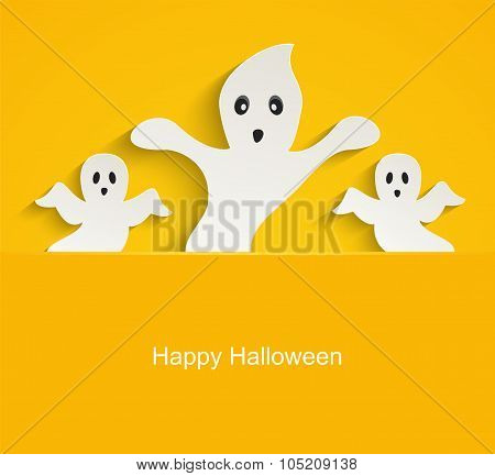 Halloween Yellow Background With Scary Ghosts.