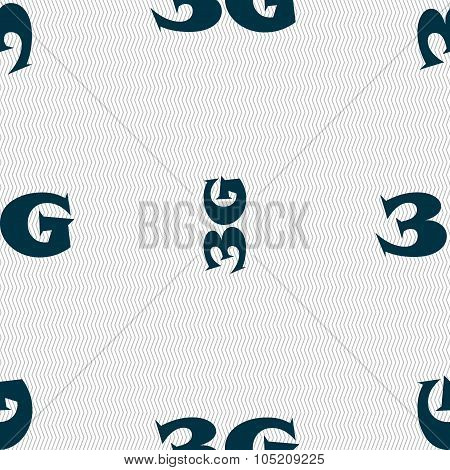 3G Sign Icon. Mobile Telecommunications Technology Symbol. Seamless Abstract Background With Geometr